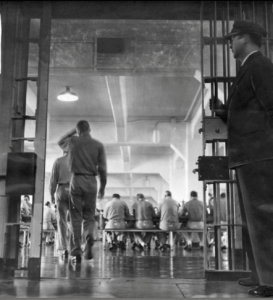 Alcatraz prisoners entering mess hall