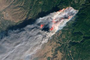 Satellite view of the Camp Fire