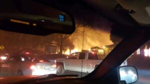Flames seen from car