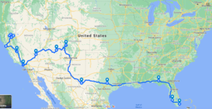 My American Odyssey Route Map