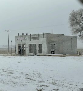 Abandoned gas station in Atomic City, ID