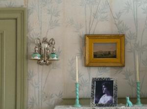Candleholders on Elisabeth Congdon's bedside table