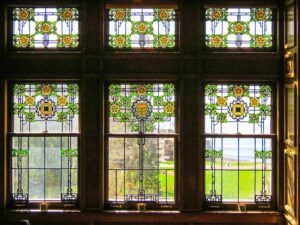 Stained glass windows at Glensheen mansion