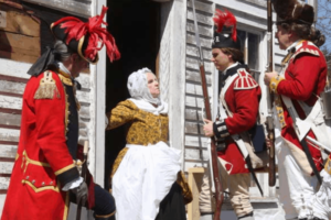 Redcoats demanding to enter a private home
