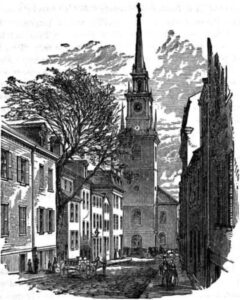 Sketch of the Old North Church in Boston