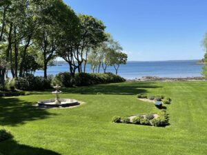 spacious lawns that slope to the sea in Bar Harbor