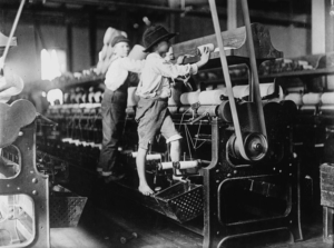 Boys working in a cotton mill.