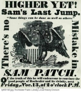 Sam Patch's flyer for his final jump.