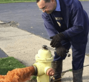 Fint water being released from a fire hydrant