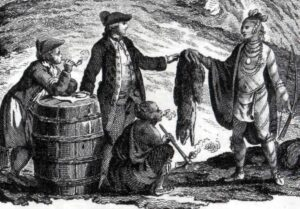 European fur traders trading with the Ojibwe in 1777