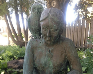 Statue of a young Susan Johnston